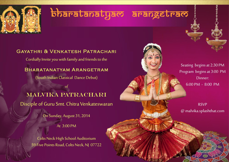 Malvika S Bharatanatyam Arangetram Invitation Splash
