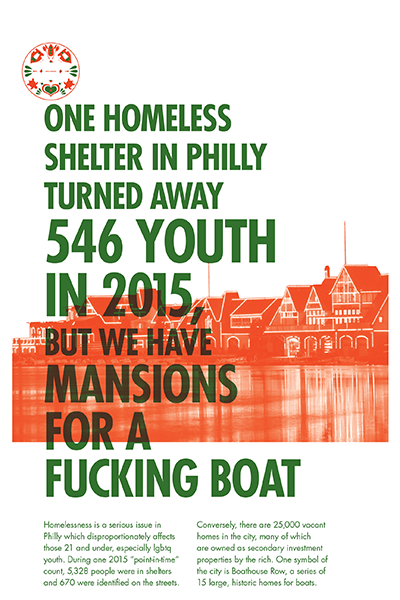 Design Activist Institute One homeless shelter in Philly turned away 546 youth in 2015, but we have mansions for a fucking boat