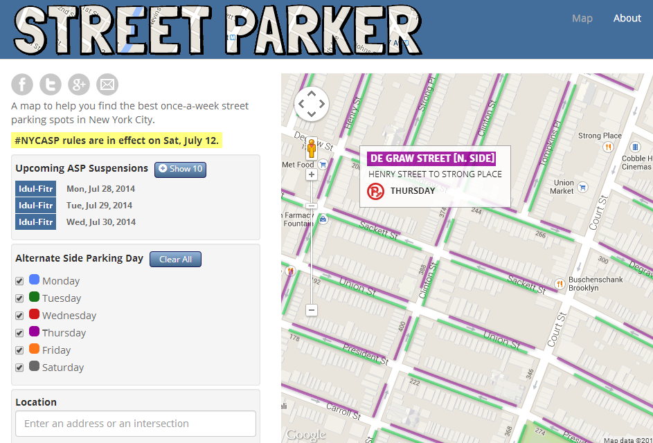 street parking in nyc map Street Parker