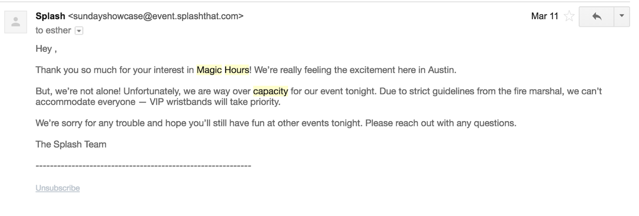 on-site event email