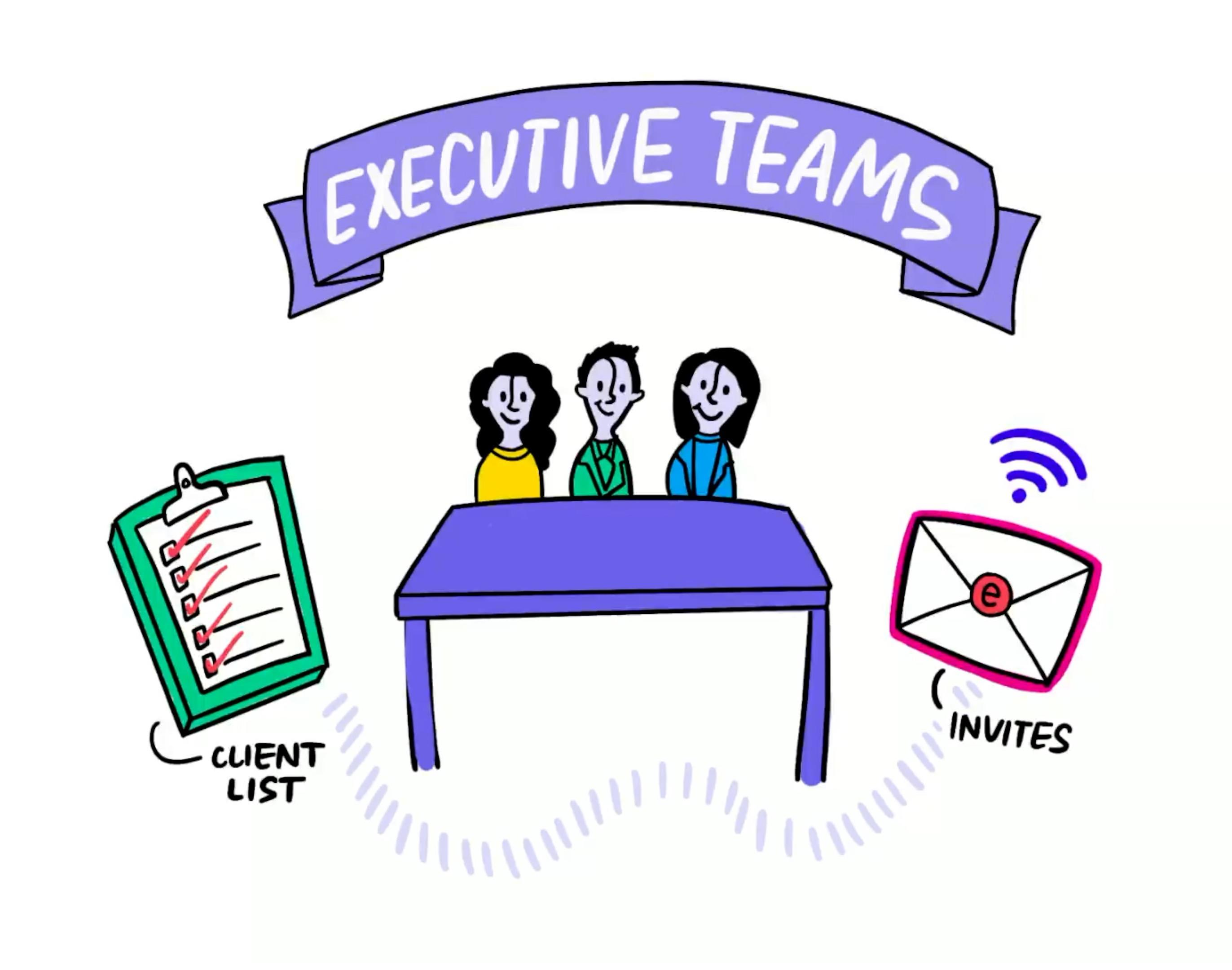 event promotion drive rsvps executive team