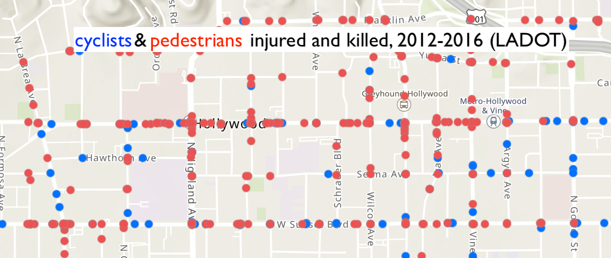 cyclists (blue) and pedestrians (red) killed on between 2012-2016 (source: LADOT)