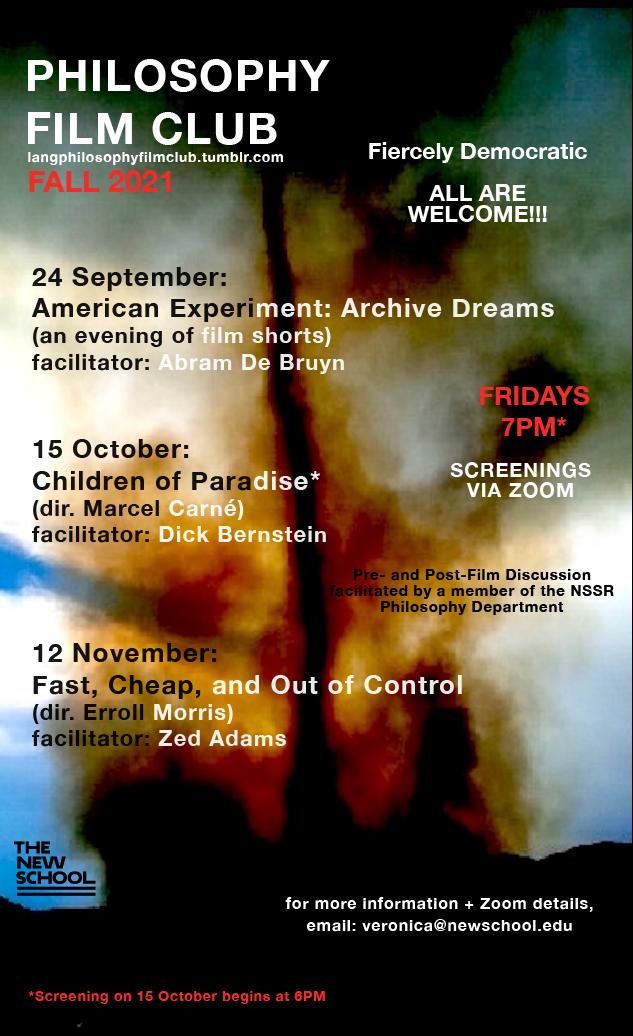 ONLINE | Fall 2021 Philosophy Film Club Screenings